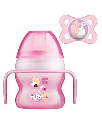 MAM 150ml starter cup with soother (0+ months) - pink