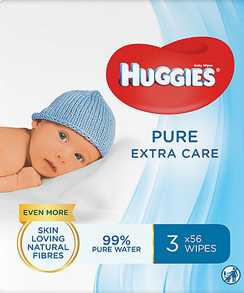 Huggies pure extra care baby wipes - 3 packs (168 wipes)
