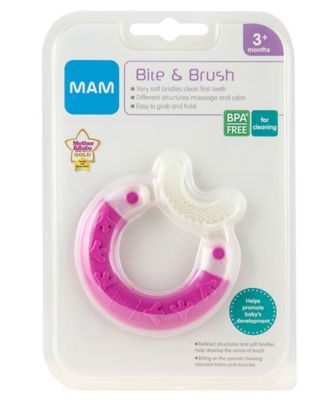 Mam bite and brush teether - pink