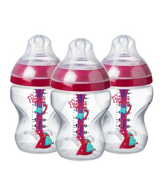 Tommee Tippee decorated advanced anti-colic 260ml baby bottles - 3 pack - pink