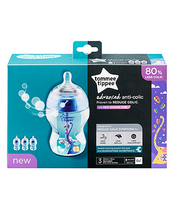 Tommee Tippee decorated advanced anti-colic 260ml baby bottles - 3 pack - blue