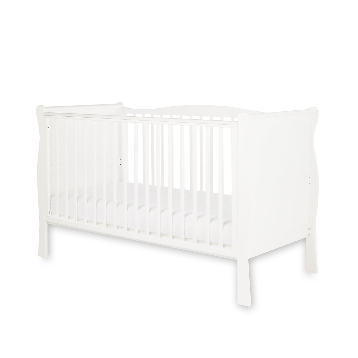 Little Acorns Sleigh Cot Bed   White