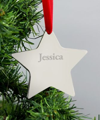 personalised my first christmas silver star decoration
