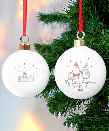 personalised my first christmas santa and penguin bauble