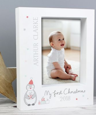 personalised my first christmas box photo frame