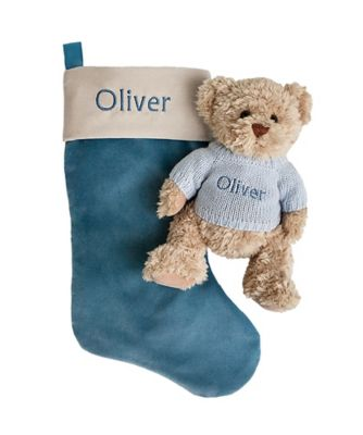 babyblooms bertie bear's personalised christmas stocking - blue