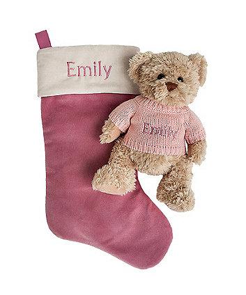 babyblooms bertie bear's personalised christmas stocking - pink