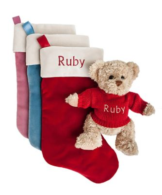 babyblooms bertie bear's personalised christmas stocking - pink