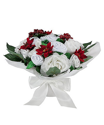 babyblooms poinsettia luxury bouquet with personalised snuggle wrap