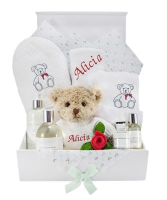 babyblooms personalised christmas teddy bath and bedtime hamper