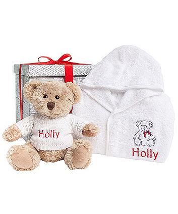 babyblooms bertie bear's christmas bathrobe set