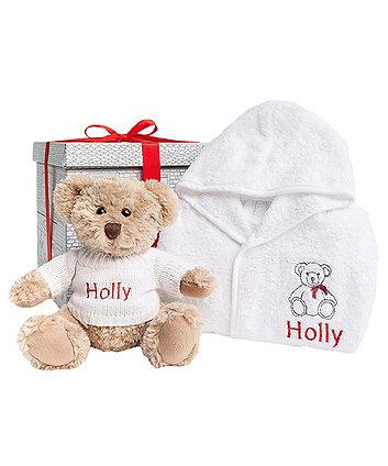 babyblooms bertie bear's christmas bathrobe set - 1-2 years