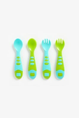 mothercare easy grip spoon and fork set - 4 pieces - blue