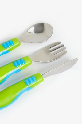 mothercare easy grip toddler cutlery set - 3 pieces (blue)