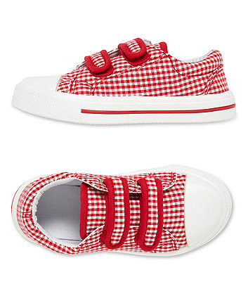 red gingham pumps
