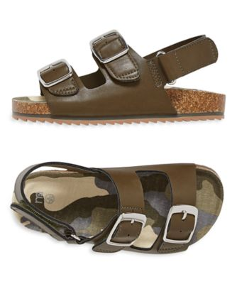 khaki camouflage footbed sandals
