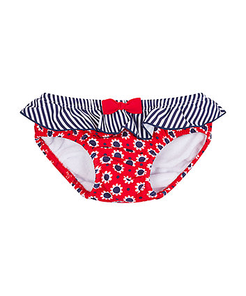 red floral swim nappy
