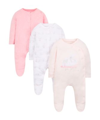 my first bunny sleepsuits - 3 pack
