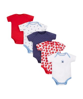 blue and red floral bodysuits - 5 pack