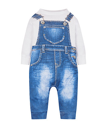 denim dungaree tromp l'oeil all in one