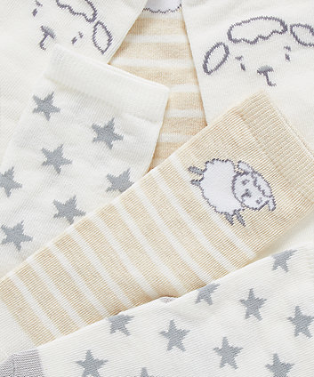 little lamb and star socks - 3 pack