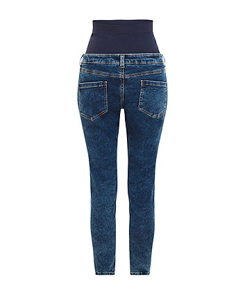 acid wash over-the-bump skinny maternity jeans