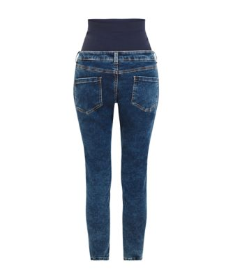acid wash over the bump skinny maternity jeans