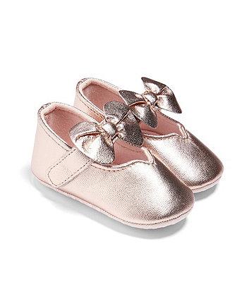 Mamas & Papas metallic bow shoes