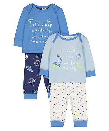 mummy and daddy space pyjamas - 2 pack