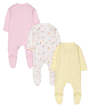 swan princess sleepsuits - 3 pack