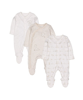 my first elephant sleepsuits - 3 pack