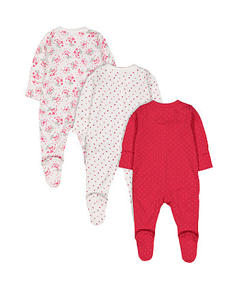 red berry sleepsuits - 3 pack