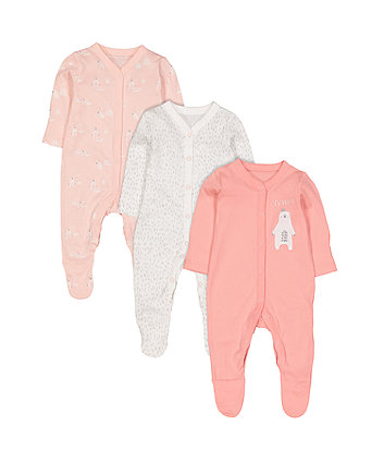 pretty polar bear sleepsuits - 3 pack