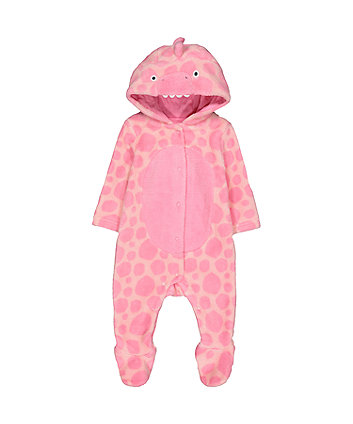 pink dinosaur fluffy all in one