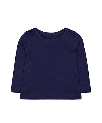 navy crochet trim t-shirt
