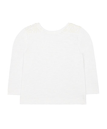 white crochet trim t-shirt