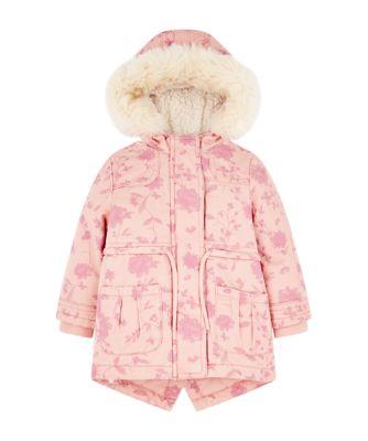 pink floral parka coat