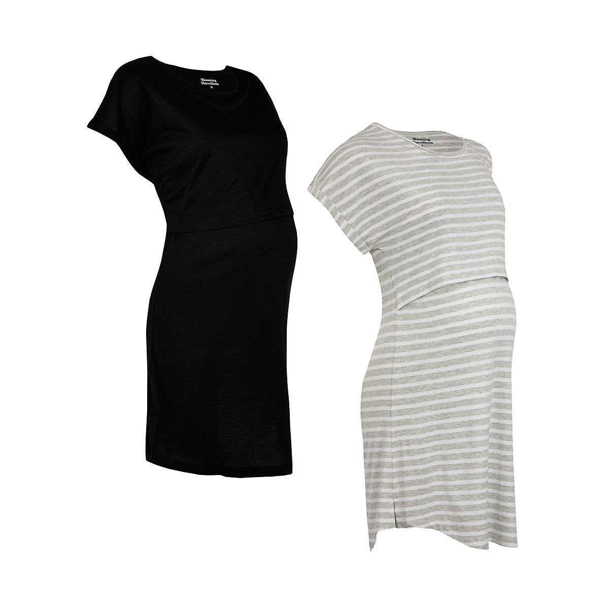 grey and black nursing nightdresses - 2 pack