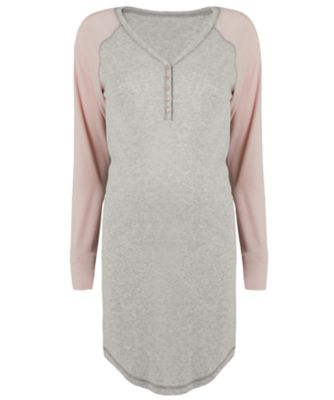 grey and pink raglan nursing nightdresses