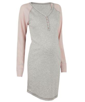 grey and pink raglan nursing nightdresses