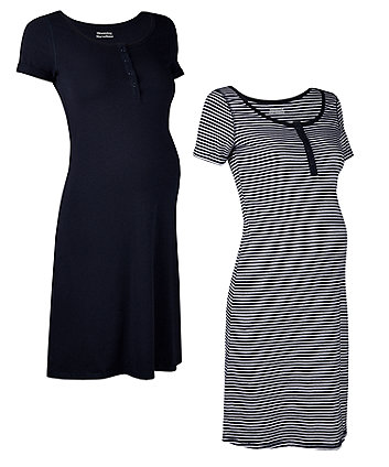 navy stripe nursing nightdresses - 2 pack