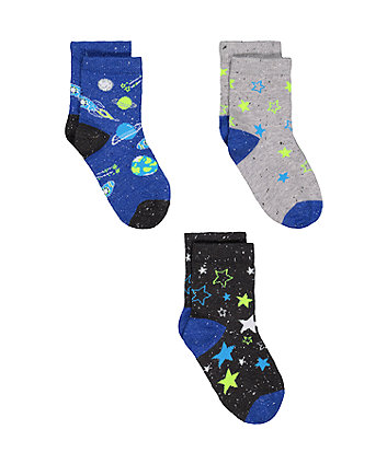 space socks - 3 pack