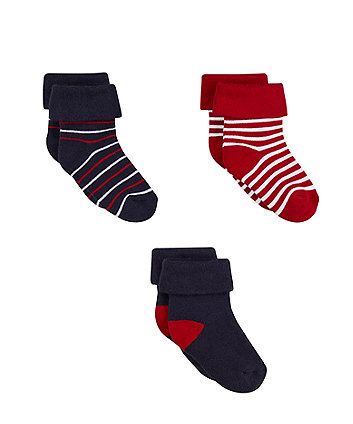blue and red stripe turn-over-top socks - 3 pack