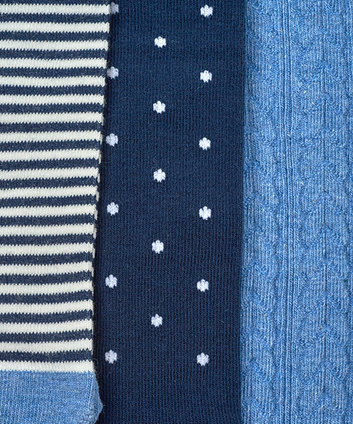 stripe, cable knit and spot tights - 3 pack