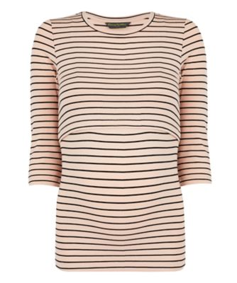 striped double-layer nursing top