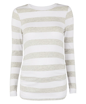 grey and white wide striped maternity top