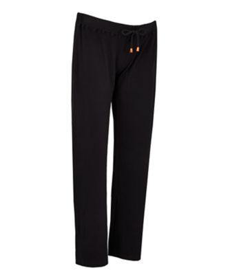 black ribbed wide leg maternity trousers