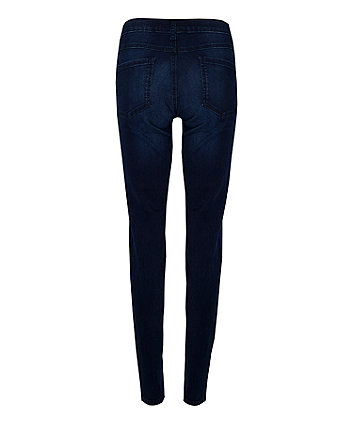 dark wash, under-the-bump maternity jeans