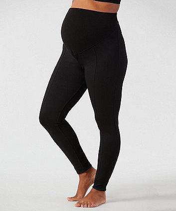 black ponte maternity leggings