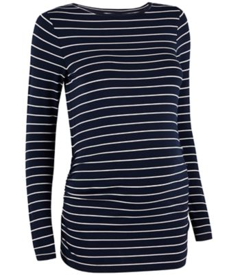 navy and white striped top